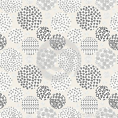 Hand drawn marker and ink seamless patterns. Hand drawn circles, triangles, squares, snowflakes, hearts. Scribble for children