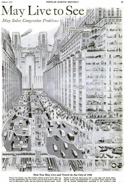 """May Solve Congestion... "" ... May also increase cases of Carbon Monoxide poisoning? - Urban planning 1925."