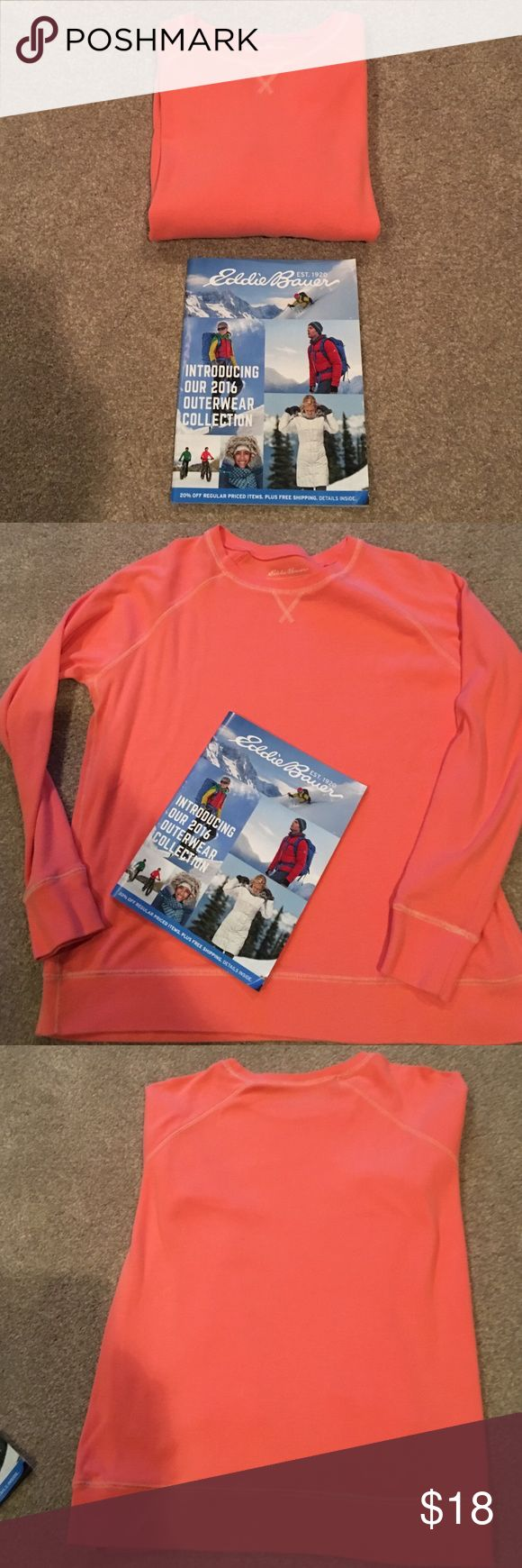 """🍁Eddie Bauer Legend wash crew rock Sweatshirt 🍁 Measures: 23"""" across bust.26"""" length shoulder-bottom hem. Sleeve length inside: 19.5"""" size XL. SFH. Gently used condition. No stains or rips anywhere. Color light coral. Eddie Bauer Tops Sweatshirts & Hoodies"""