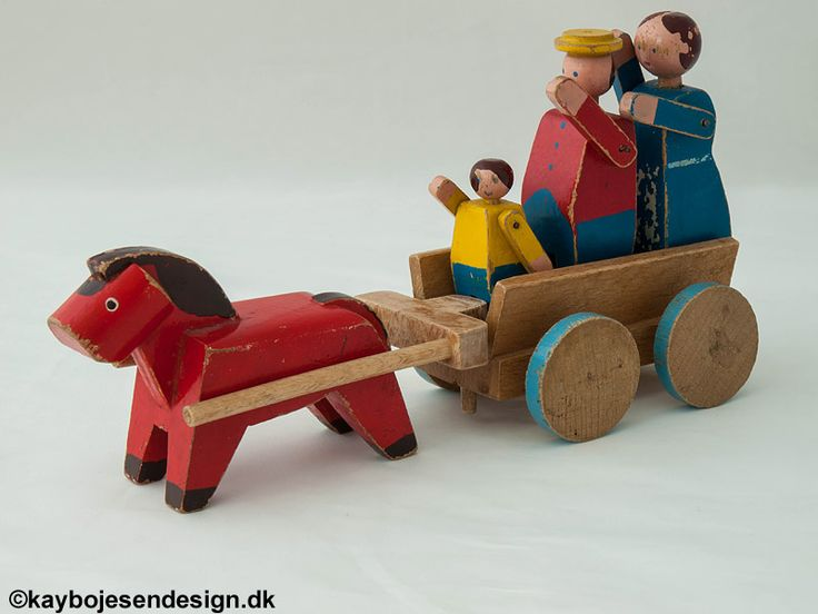 Kay Bojesen | Red horse with carriage and farmer with family - mid century kids design toys
