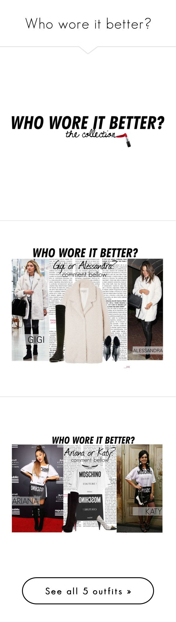"""Who wore it better?"" by lidage on Polyvore featuring TheBalm, MAC Cosmetics, Cristabelle, Kim Kwang, Stuart Weitzman, WhoWoreItBetter, Moschino, Christian Louboutin, Charlotte Russe and Michael Kors"