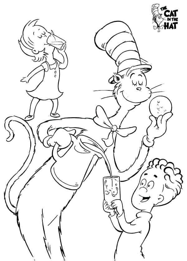hat coloring pages printable the cat