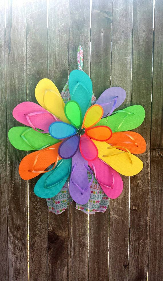 Rainbow Pinwheel Flip Flop Wreath by AmysRainyDayBoutique on Etsy