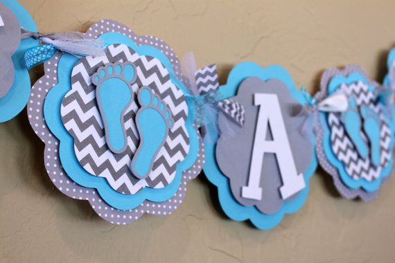Baby Feet Chevron Stripe and Polka Dot IT'S A BOY por PaisleyGreer, $28.00
