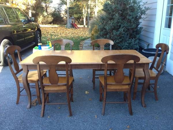 Two Tone French Country Vintage Dining Set With Napoleon Chairs Cabriole Legs Made In Canada