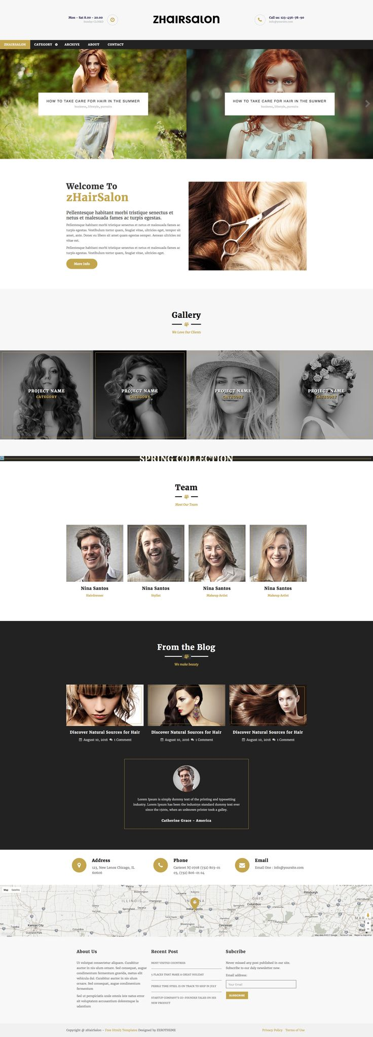 zHairSalon is a clean free HTML5 business website template, the perfect template for hair salons. zHairSalon template comes with 4 pages (Home Page, Single Page, Archive Page, Contact Page). It is fully responsive, Retina ready and uses custom framework.