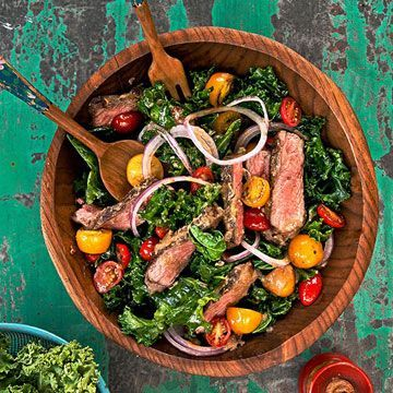Steak and Sautéed Kale with Miso Dressing