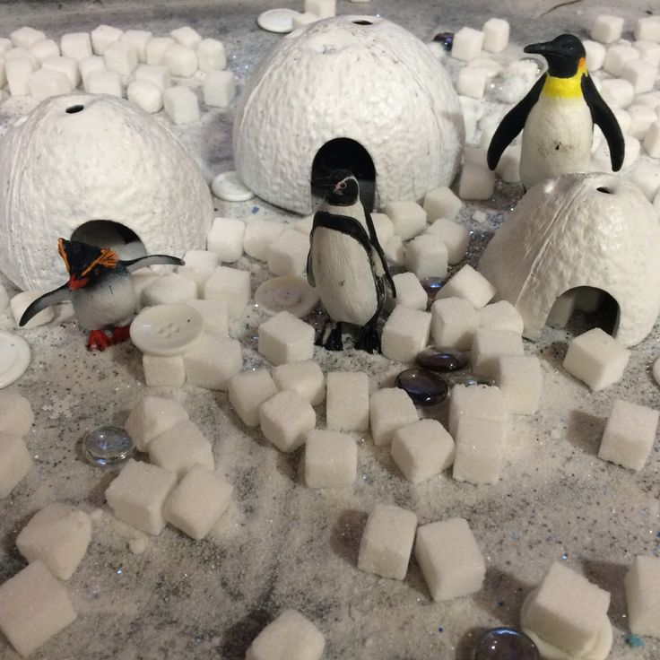 Antarctica polar small world. Sugar snow, sugar cubes, glass pebbles, white buttons penguins and sparkle.
