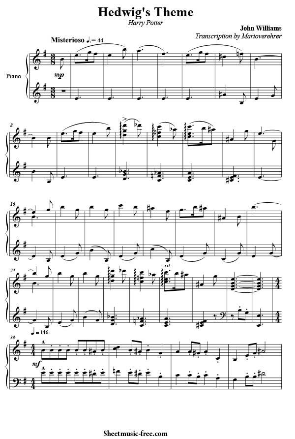 Hedwig's Theme Sheet Music Harry Potter Download Hedwig's Theme Piano Sheet Music Free PDF Download