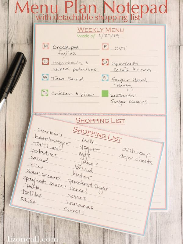 Menu Plan Notepad with Detachable Shopping List