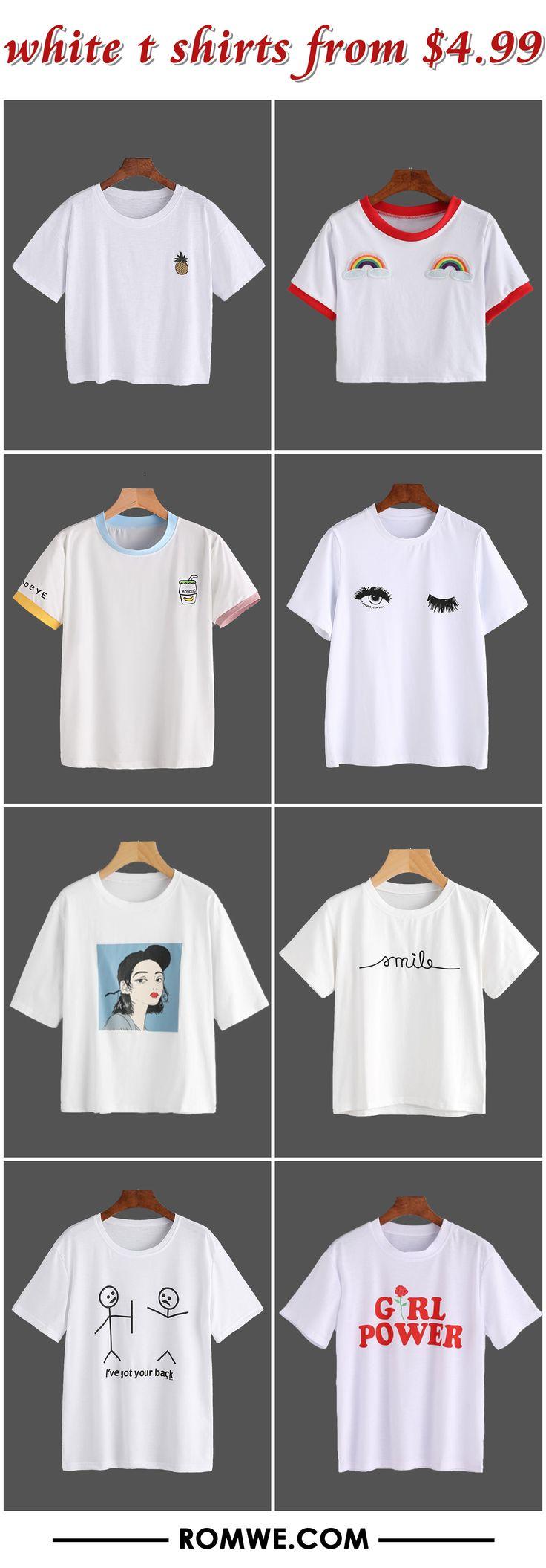 white t shirts 2017 - romwe.com