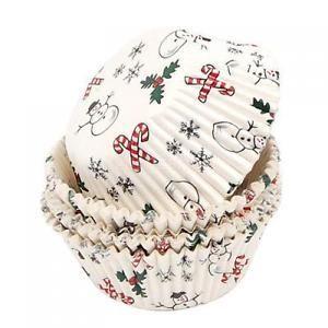 100pz-Pirottini-Muffin-Cartine-Cupcake-Torta-Con-Motivo-Natale-Tema