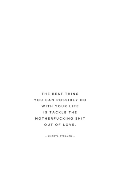 The best thing you can possibly do with your life is tackle the Motherfucking Shit out of love. - cheryl strayed