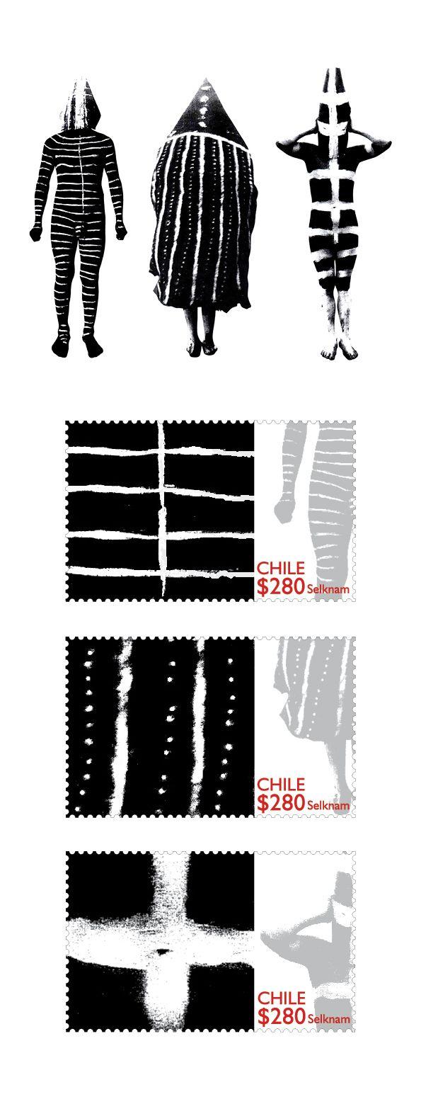 Serie de sellos de temática Selknam, en un diseño contemporáneo