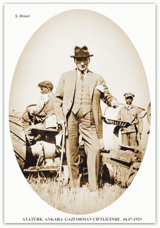 Atatürk Ankara Gazi orman çiftliğinde. 04.07.1929