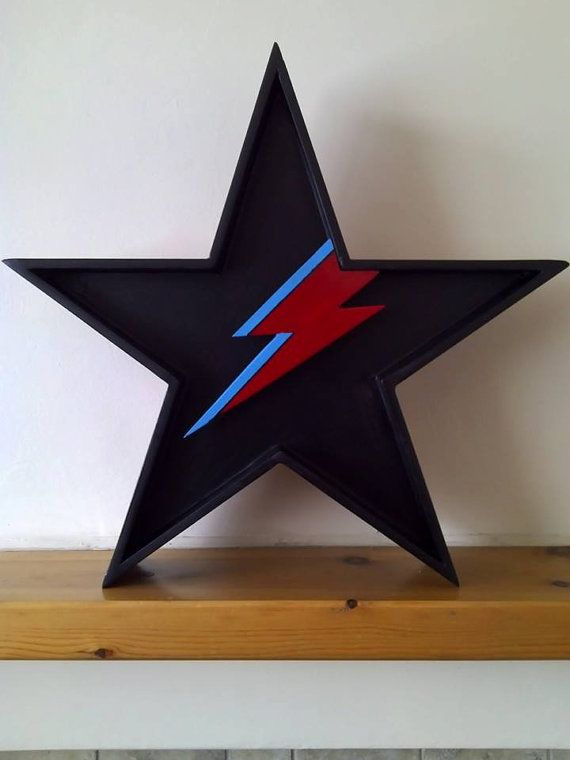 Hand made and bespoke item David Bowies Blackstar with a hint of Ziggy, halo illuminated with super bright white Leds battery operated, this