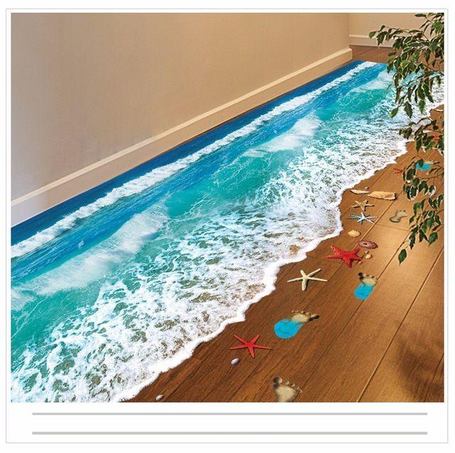 2016 Горячая Творческий 3D Стены Наклейки Звезды След Пляжные и синего моря Пол в Ванной Комнате Стикер Дети стены наклейки на E-Mail