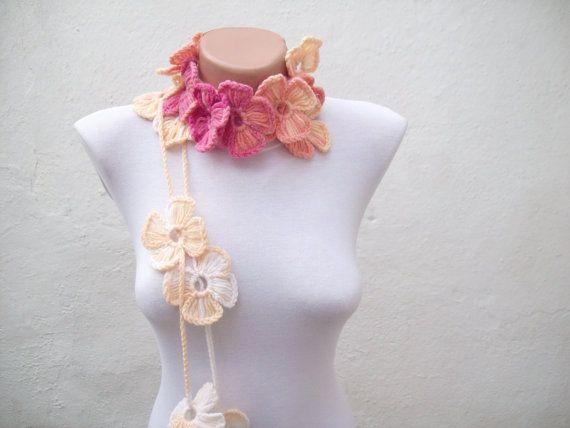 Handmade crochet Lariat Scarf Pink Peachy Flower by scarfnurlu