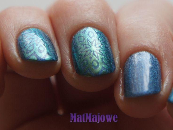 Third week Blue & Green Stamping with Dance Legend Wazowski over blue holo http://matmajowe.blogspot.com/2015/01/nsc-3-blue-green-stamping.html