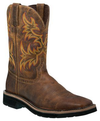 Justin Stampede Cowhide Square Toe Western Work Boots for Men - Rugged Tan - 11.5W
