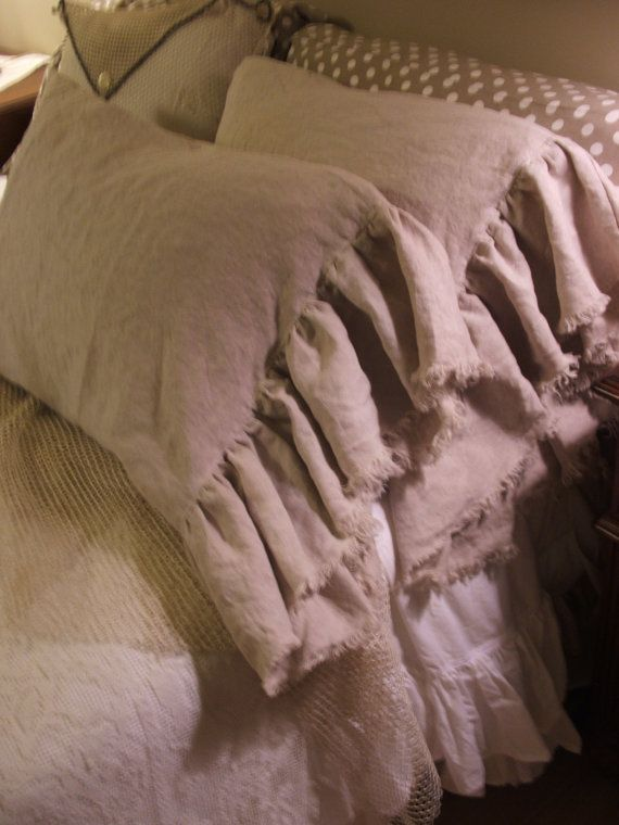 country french linen pillow cases by MyThymeCreations on Etsy, $55.00