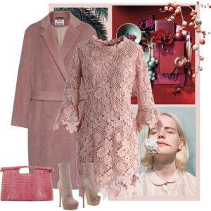 ACNE STUDIOS Elga Hairy Dusty Pink Alpaca wool coat with waist belt