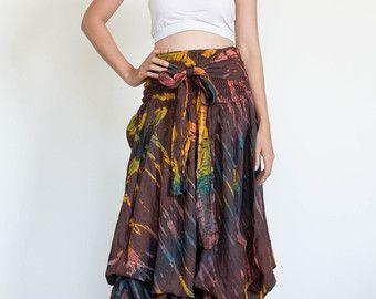 Tie Dye Frauenröcke und Kleid in einem - Hippie-Kleid-Festival Mode Boho Rock böhmischen Rock Zigeuner Kleid bunt Hippie Tie Dye Kleid
