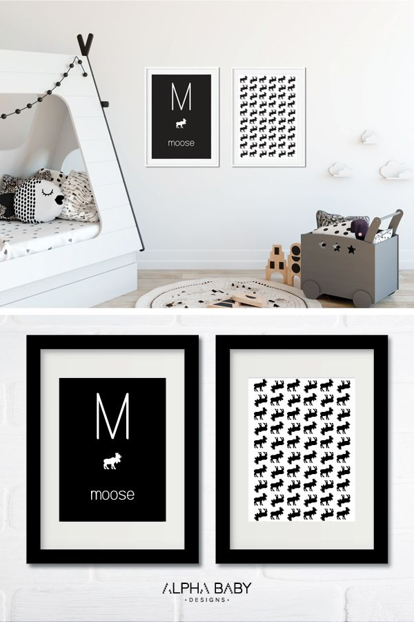 Moose/woodlands theme black and white nursery wall art by Alpha Baby Designs. Simply print and frame!