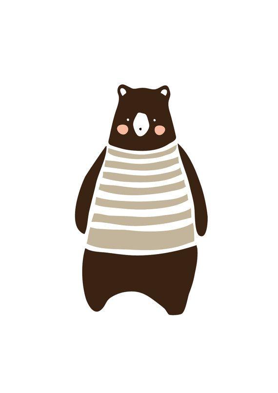 Baby Brown bear Art Print, Animal Illustration, Drawing, Illustration, Children Room, Kids room art, Nursery room Art, home decor