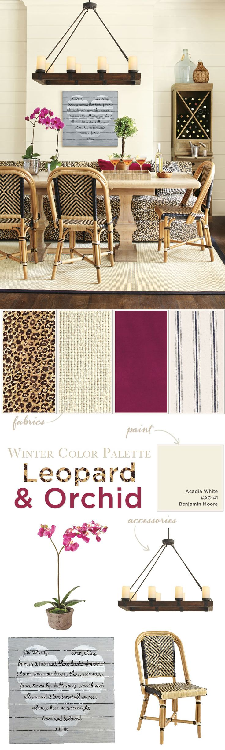 Dining room color palette with leopard print and magenta accents