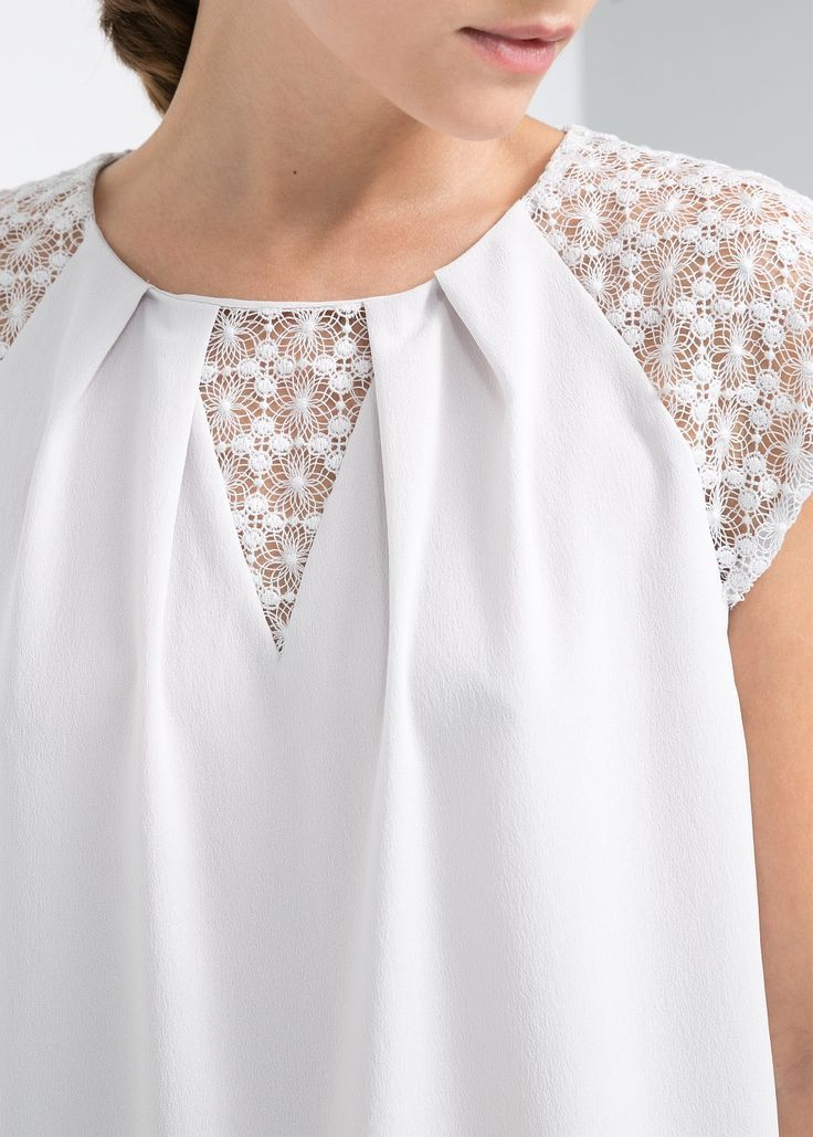 Mango Lace Detail Blouse