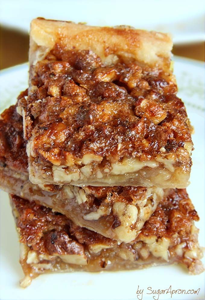 Easy Pecan Pie Bars | www.sugarapron.com | pecan pie in a bite size bar! Crescent roll dough makes this pecan bar recipe simple and quick to prepare.