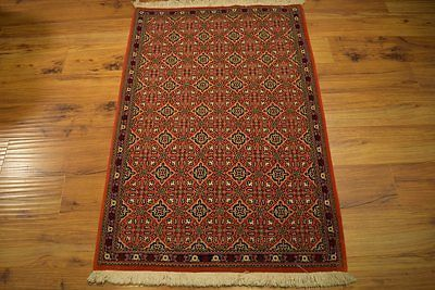 Red All-Over Design Transitional Rug Persian 3x4 High End Rugs Handmade in Iran