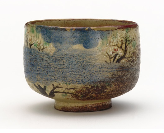Kenzan-style tea bowl with design of cherry blossoms. Early to mid-19th century, Ogata Kenzan.
