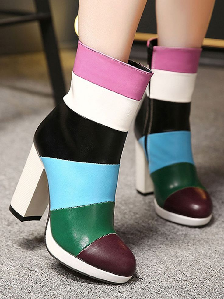 Multicolor Contrast Chunky Heeled Platform Ankle Boots | Choies