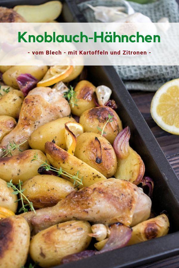 Knuspriges Knoblauch-Hähnchen aus dem Ofen mit Kartoffeln und Zitronen