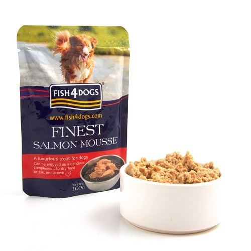 Finest Salmon Mousse 4 Dogs This natural luxury gourmet wet treat is made from Salmon and Seaweed Extract.   The salmon is gently steam cooked then whipped giving it an airy texture.   Fish4Dogs Salmon Mousse can be given on its own or mixed in with dry food as a delicious tempting treat.