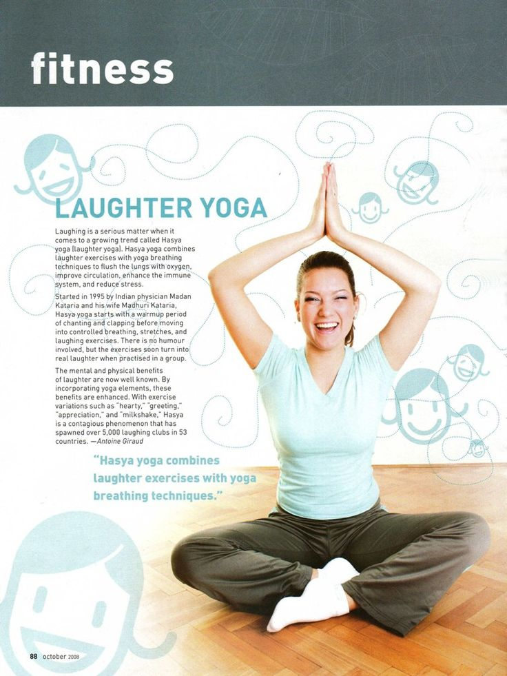 Laughter Yoga is a new exercise phenomena based on laughing and Yogic-breathing exercises called pranayama. Many of the major television networks have done pieces on Laughter Yoga because it is such an effective way to revitalize the entire system of the practitioner. #whatislaughteryoga ‪#‎laughteryoga‬ http://www.aurawellnesscenter.com/2011/11/30/exactly-what-is-laughter-yoga/