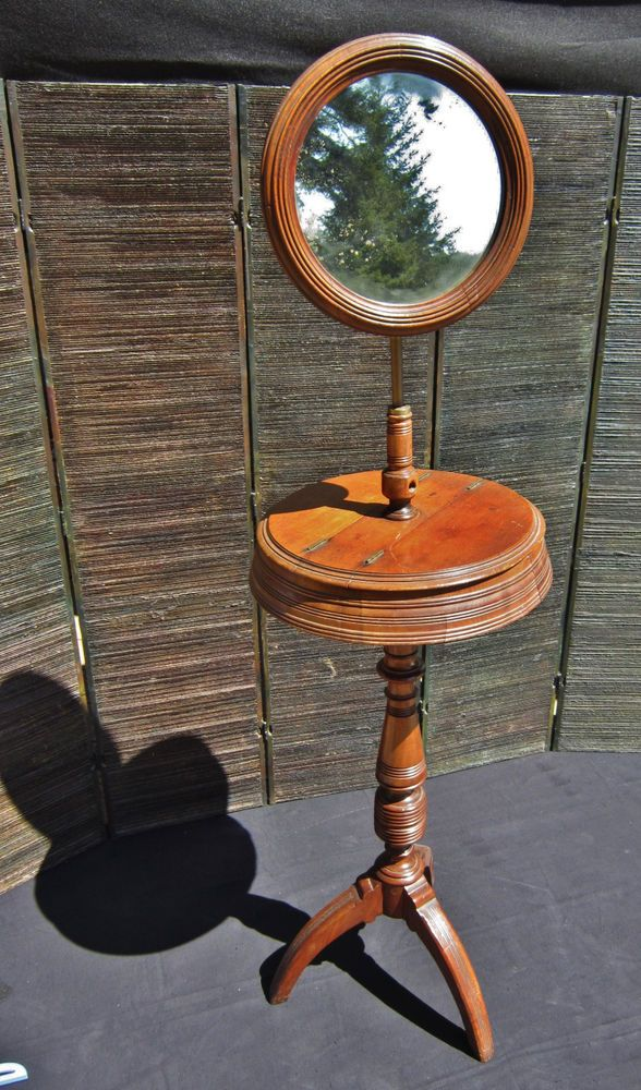 Antique English C 1800 Georgian Mahogany Shaving Stand