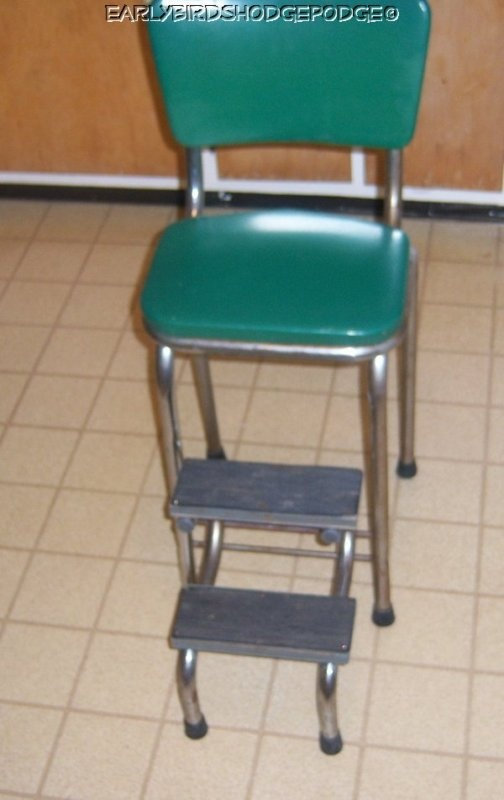 Vintage Green Kitchen Step Stool In Good Very Good