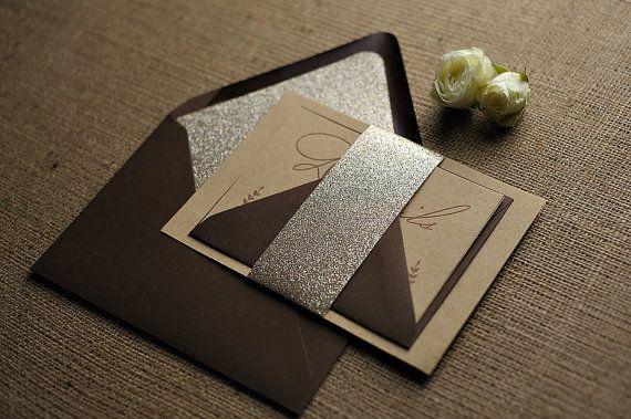 Rustic Glitter Letterpress Invitation Suite  Brown by JustInviteMe, $12.50