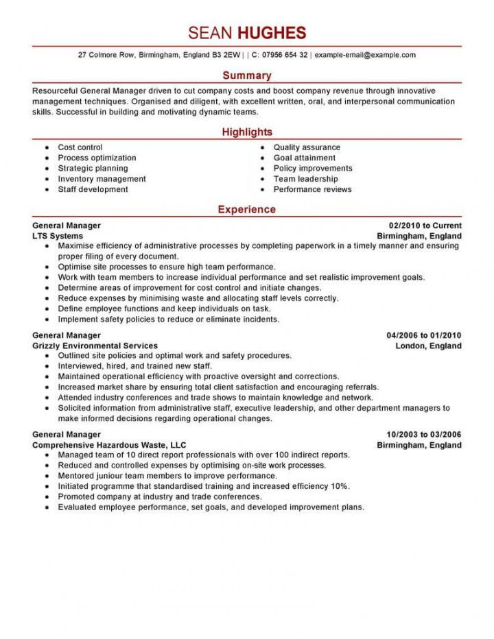 Explore Our Example Of General Manager Job Description Template Resume Examples Manager Resume Job Description Template