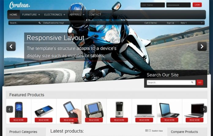 """""""Cerulean"""" - beautifully constructed responsive #Magento theme. For your #mobile or software online store."""