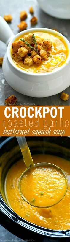 Unbelievably smooth, creamy, and flavorful, this comforting butternut squash soup makes itself completely in the crockpot and you'll never believe it's only 110 calories per bowl!