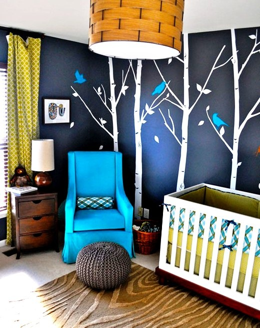 Captivating Choose A Glider In One Of The Accent Colors, Then Paint Birds On The Birch  Trees In That Same Color   Love The Look! Spaces Nursery Themes For Baby  Boys ...