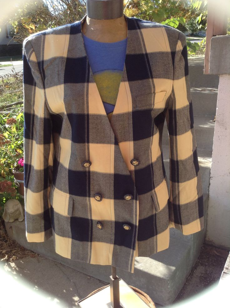 Excited to share the latest addition to my #etsy shop: Vintage Hipster 80s Vanessa Leigh ladies yellow & navy plaid double breasted blazer size 10 free domestic shipping