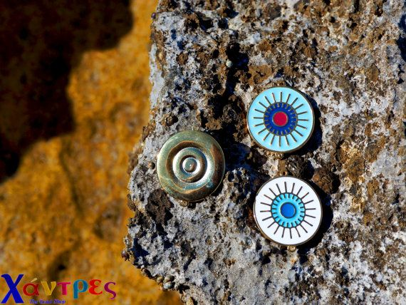 Evil eye conectorsjewelry suppliesenamel evil eye by GreekBeadShop