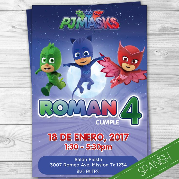 Pj Masks Invitacion Español - Spanish Invitation - Heroes en Pijamas - Personalizada para imprimir - Catboy - Gecko - Ululette - Disney JR by DsInvitations on Etsy