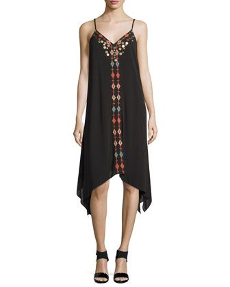 Embroidered+Sleeveless+Dress,+Black+by+Neiman+Marcus+at+Neiman+Marcus+Last+Call.