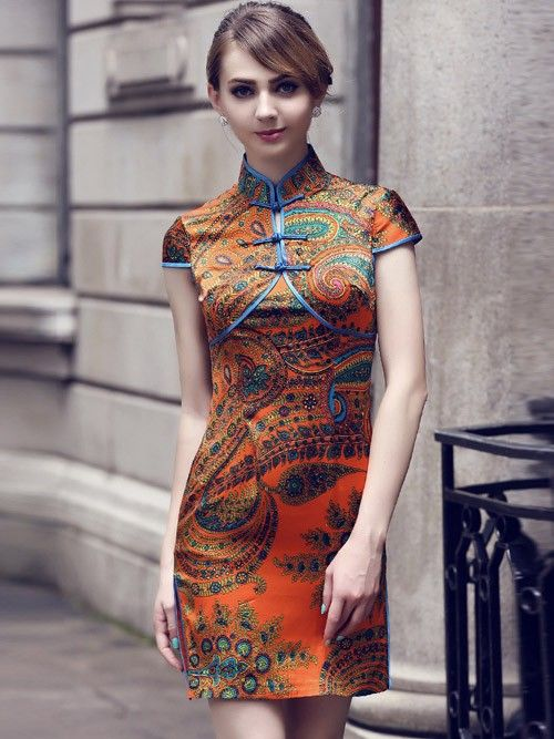 Orange Mulberry Silk Qipao / Cheongsam Dress in Folk Pattern